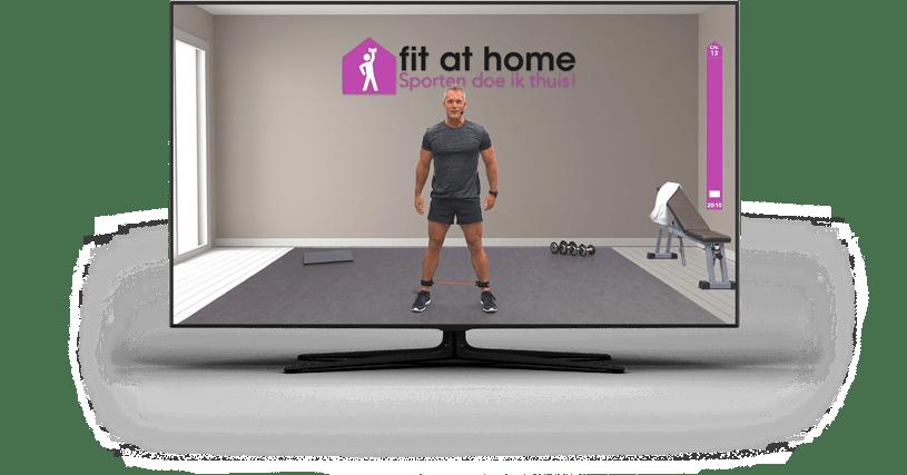 thuissportplatform Fit at Home afspelend op een tv